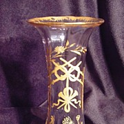 Hand blown manganese glass vase with hand painted gold design