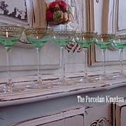 Art Deco set 6 hand blown uranium glass cordials gold painted Greek key  design stemware green with clear stems