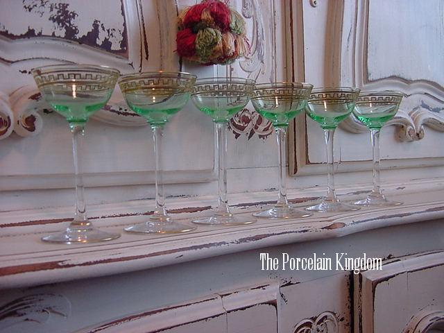 Art Deco set 6 hand blown uranium glass cordials gold painted Greek key  design stemware green with clear stems