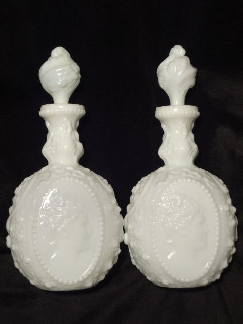 Fostoria pair vintage Jenny Lind milk glass cologne barber bottles