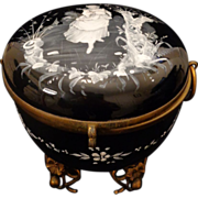 Monumental Mary Gregory enamel painted round black glass casket floral gilt mounts hinged box