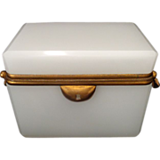 French White Opaline glass casket hinged box with Art Nouveau gilt mounts