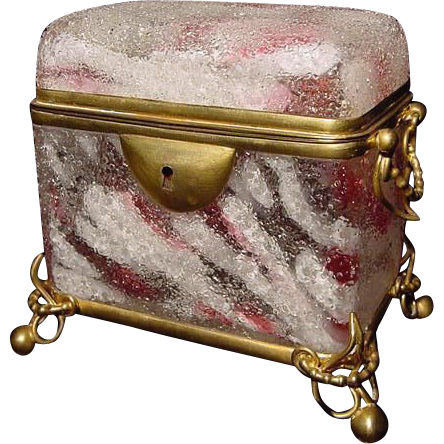 Moser Harrach Cranberry White Spatter Glass Dome Top Glass & Gilt Ormolu Double Handle Jewel Casket
