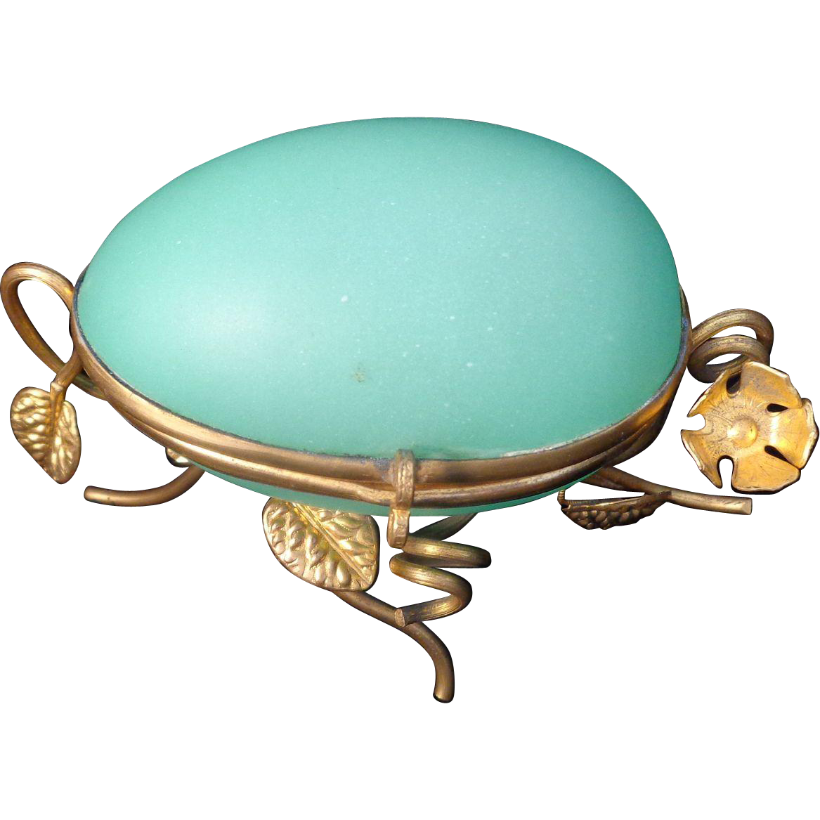 Light Stand For Egg: Antique French Casket Green Opaline Glass Egg Box On Gilt