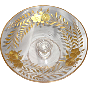 Vintage Glass Tazza Compote Pedestal Candy Dish with Hand Painted Gold Flowers and Leaves