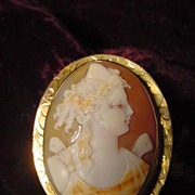 10K Gold Carved Carnelian Shell Cameo Psyche Brooch Pendant In Presentation Box