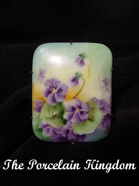 Antique porcelain purple springtime pansies brooch pin