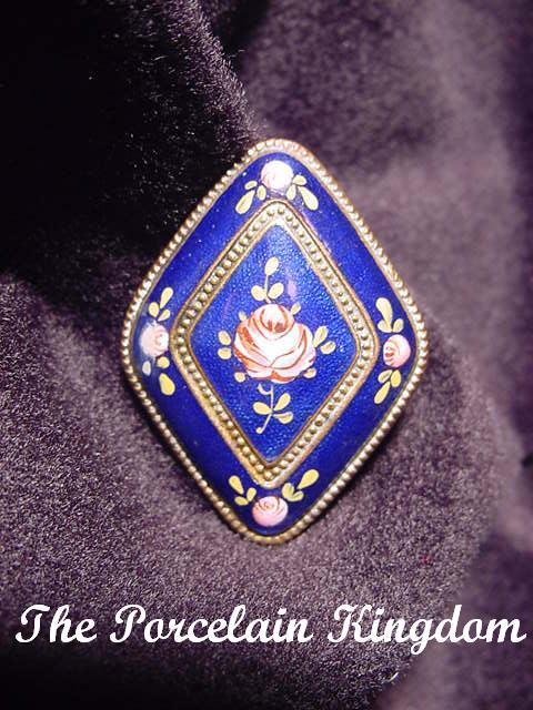 Czech signed cobalt enamel brooch vintage Czechoslovokia pink roses pin