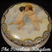 Limoges cherubs in the clouds jewelry casket French porcelain powder jar