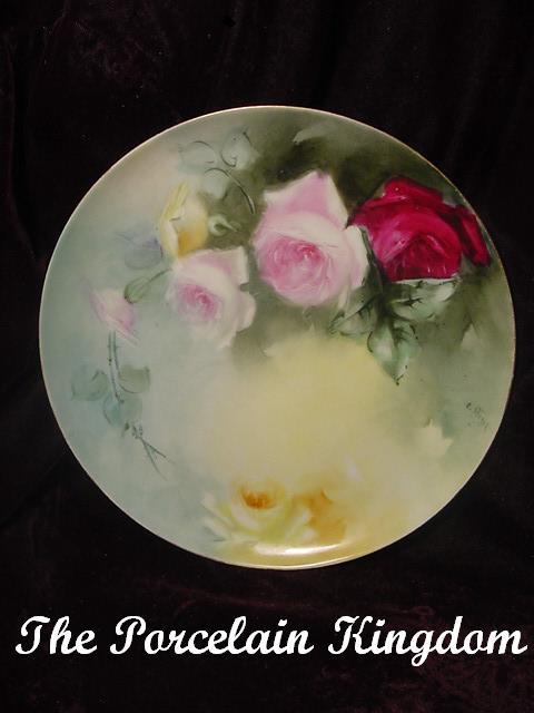 Haviland Limoges Elizabeth Stoner Large Naturalistic Tea Roses Plate
