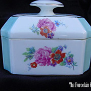 Antique Limoges French  blue candy stripe dresser box