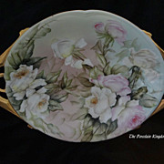 Limoges Art Deco heavy gold double handled center bowl tray hand painted pink & ivory roses artist signed Esther Miler