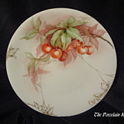 Elite Limoges hand painted cherries plate with Roman coin gold spider webs and floral embellishments Bawo & Dotter antique French cherry porcelain