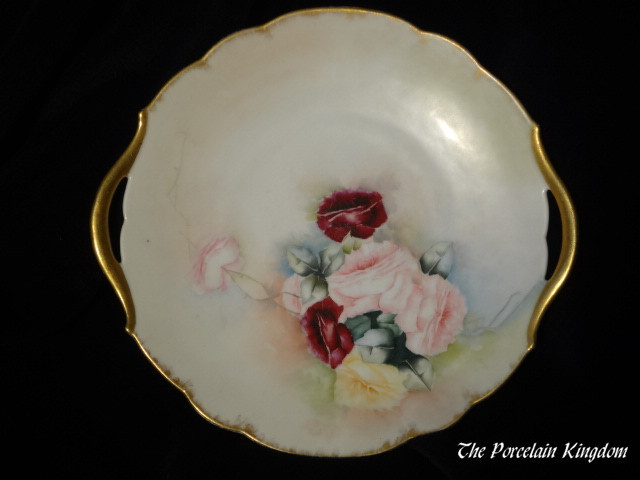 Limoges French pink and yellow roses double gold handled cake plate artist signed and dated 1898