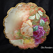 Antique French Limoges reflecting roses and gold plate artist signed Bay