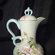 Limoges hand painted roses chocolate pot antique French porcelain cocoa pot