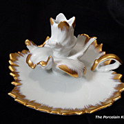 Limoges Art Nouveau flower form heavy gold candle holder