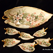 Rare Limoges French Esther Miler leaf shaped master bowl and six individual salts