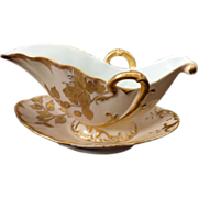 French Haviland Limoges heavy gold orchid floral double handle sauce or gravy boat