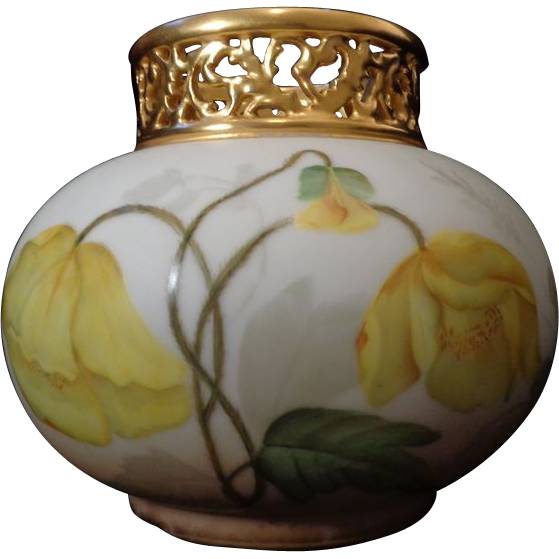 Antique Limoges French porcelain gold pierced collared vase hand painted yellow poppies largest size