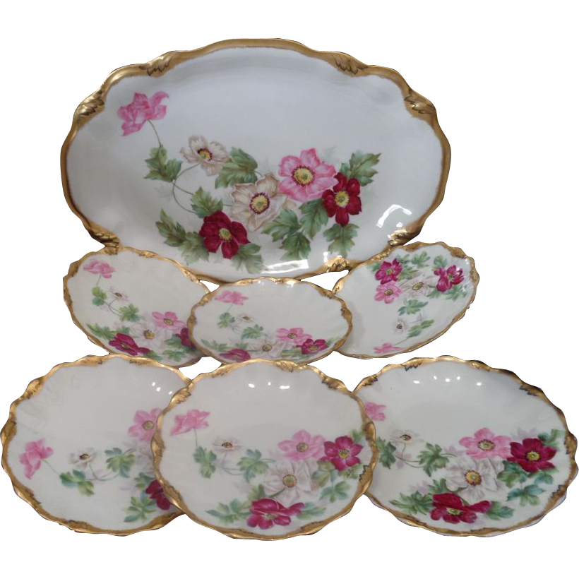 Antique French Limoges pink wild roses ice cream dessert set tray and six plates listed artist signed Roby