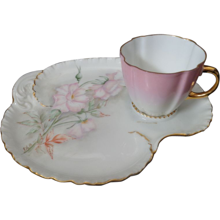Haviland Limoges Luncheon set cup and saucer artist signed 1895