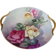 Magnificent French Limoges cake plate with hand painted roses and double gold handles