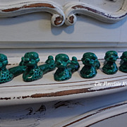 Majolica mid century poodle knife rests set of six