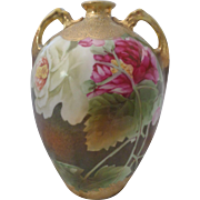 Nippon Hand Pained Roses and heavy Gold Vase