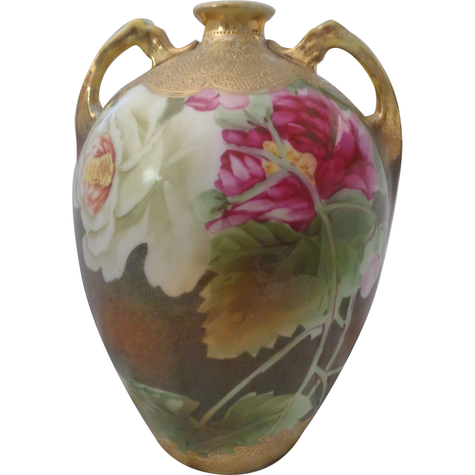 Nippon Hand Painted Roses and Heavy Gold Vase