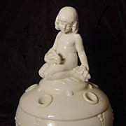 German flower frog porcelain nude girl with bunny rabbit Art Deco