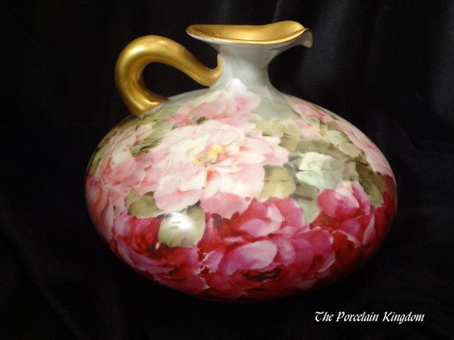 Royal Austria antique ewer hand painted pink roses and heavy gold
