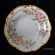 Hutschenreuther pink wild roses and heavy gold pedestal footed center bowl artist signed