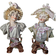 Antique Pair Man & Woman Bisque Busts 18th Century Napolean French Empire Costume English or German Well Detailed C. 1900