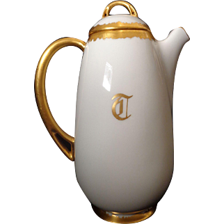 Antique Royal Bavaria Heavy Gold Accented Chocolate Pot Dated 1910