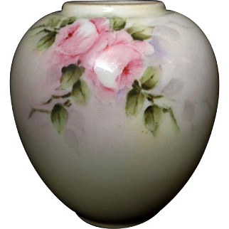 Noritake Nippon Petite Antique Hand Painted Pink Roses Ginger Jar Vase