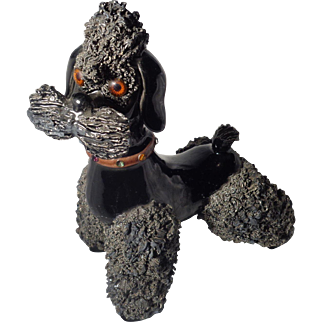 Vintage Large Black Spaghetti Poodle With Jeweled Collar