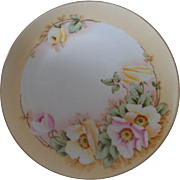 Studio Hand Painted Pink and Yellow Roses Bavaria Plate Artist Signed Fouret