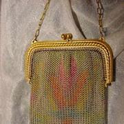 Art Deco dresden mesh vanity purse circa 1920
