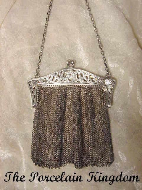 Sterling silver filigree dolphins mesh purse Art Nouveau frame A.M. Rymal