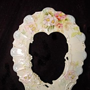 RS Prussia Porcelain Art Nouveau Heart Shape Picture Frame Dogwood Flowers
