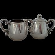 William Rogers Silverplate Three Piece Cream Pitcher & Covered Sugar Bowl