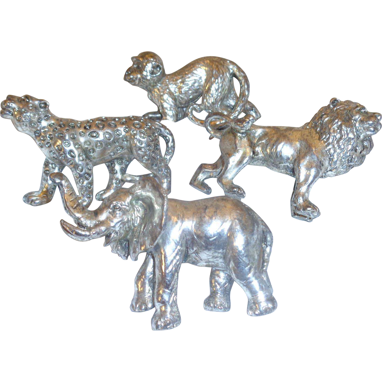 Set of Four Napkin Rings Silverplate Monkey Lion Leopard Elephant