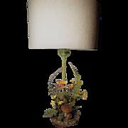 Vintage Toleware Fern Lamp with Butterflies Flowers Toadstools Oak Leaves and Acorns
