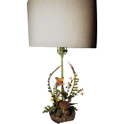 Vintage Italian Toleware Fern Lamp with Butterflies Flowers Toadstools Oak Leaves and Acorns