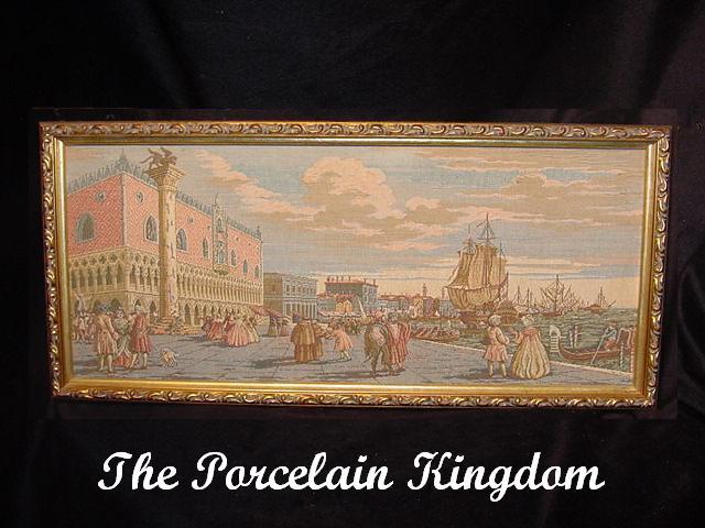 Vintage Framed Tapestry Venice Port Scene