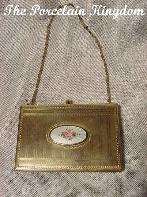 Vintage guilloche enamel & silverplate vanity compact purse