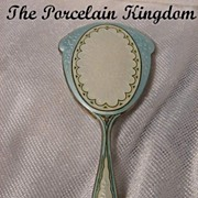 Sterling & Guilloche Enamel Hand Mirror French Miniature Chatelaine Mirror