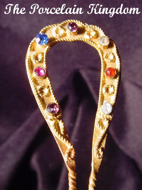 Vintage Gilt Brass & Rhinestones Hair Comb Heart Shaped Rope Garland Hair Pin C.1920