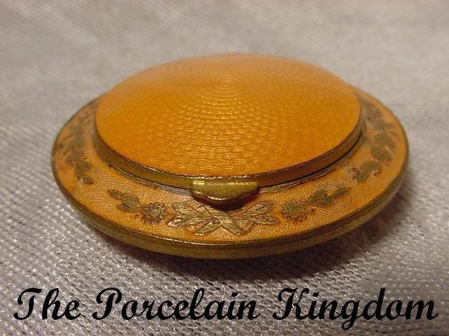 French butterscotch guilloche gilt enamel inlay locket compact  original powder puff